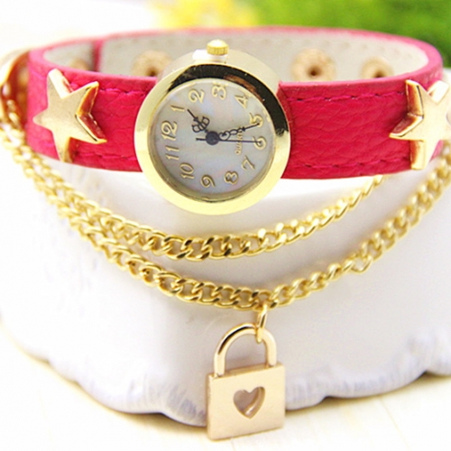 Ladies Leather Watch Love Lock