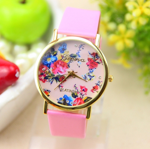 Ladies Leather Watch Rosy