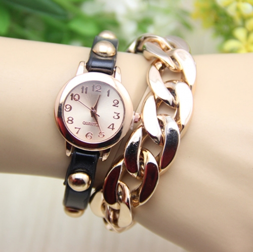 Ladies Leather Watch Chain