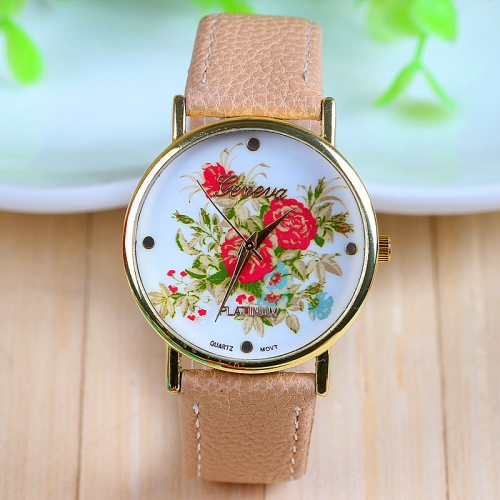 Ladies Leather Watch Vintage Beige