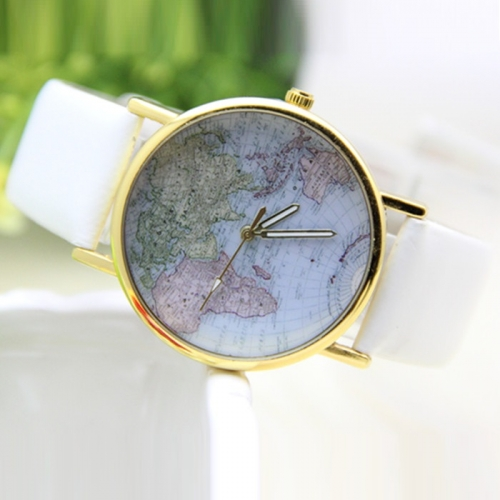 Ladies Leather Watch World Map