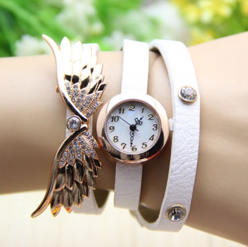 Ladies Leather Watch Angel Wings