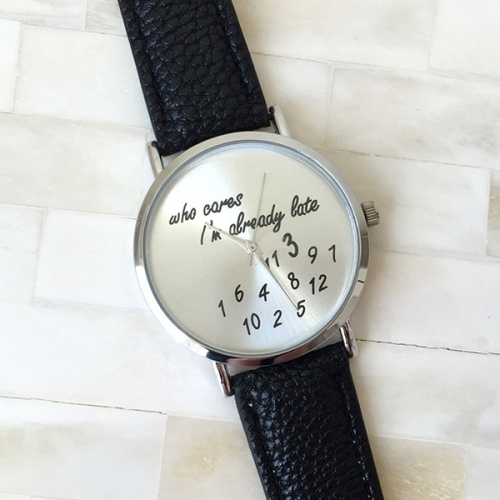 Leather Strap Ladies Watch Who Care