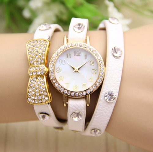 Ladies Leather Watch Bow
