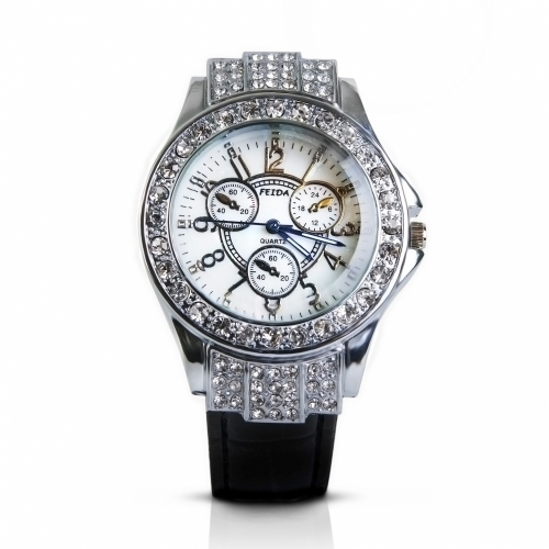 Leather Crystals Watch Silver