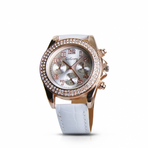 Leather Crystals Watch Gold