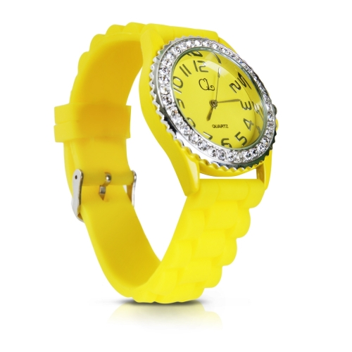Silicone Strap Crystals Watch