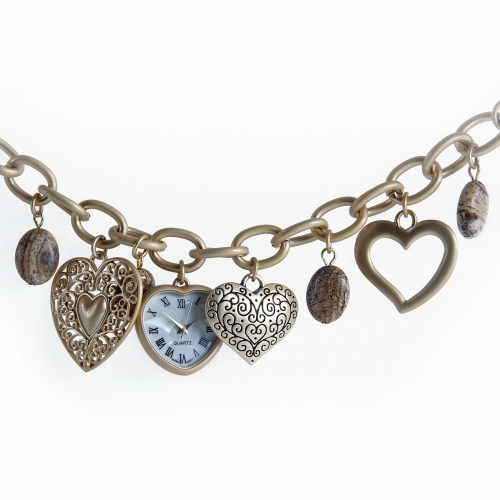 Watch Bracelet Heart Charms