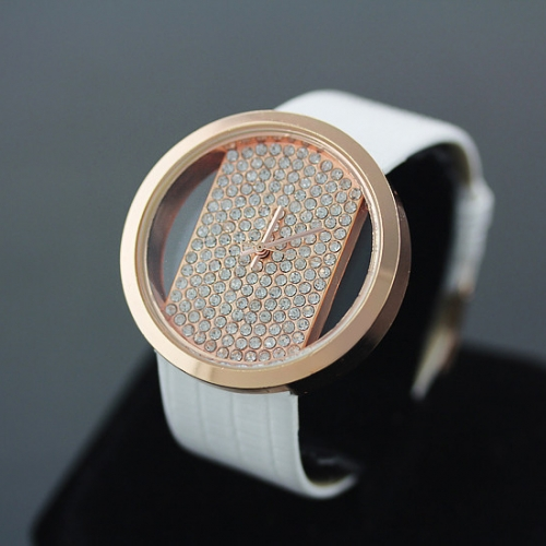 Stylish Ladies Leather Watch Gold