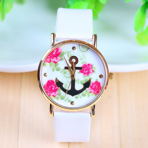 Ladies Leather Watch Anchor & Flowers