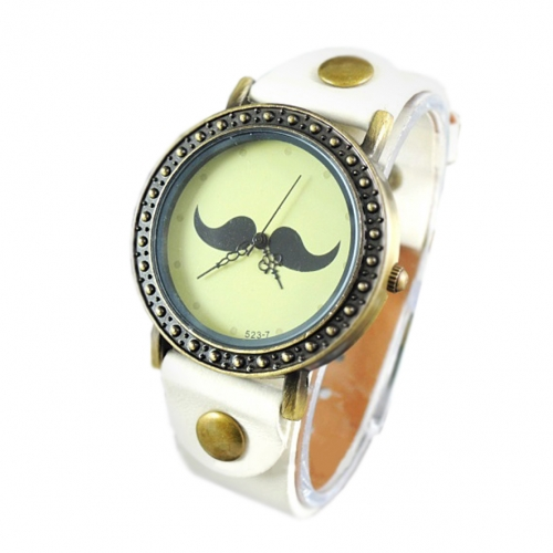 Ladies Leather Watch Moustache